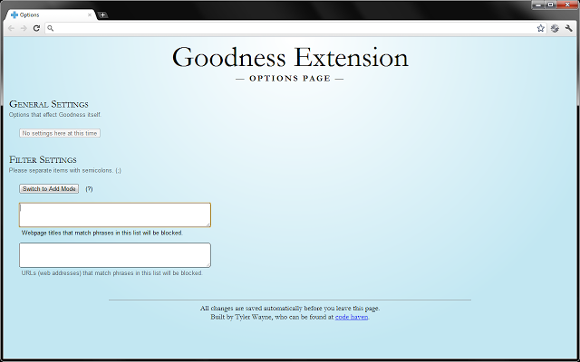 Screenshot of Goodness's options page